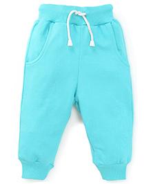 Babyhug Track Pants With Pockets and Drawstrings - Turquoise
