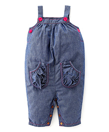 Babyhug Chambray Sleeveless Dungaree Style Romper - Dark Blue