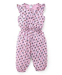 Babyhug Flutter Sleeves Jumpsuit Allover Floral Print - Pink