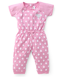 Babyhug Half Sleeves Jumpsuit Polka Dot Print - Pink