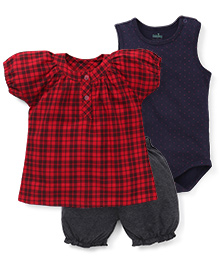 Babyhug Sleeveless Dotted Onesie And Check Top With Bloomer Shorts - Red Navy White