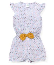 Babyhug Flutter Sleeves Jumpsuit Dots Print - Light Grey And Yellow