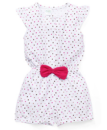 Babyhug Flutter Sleeves Jumpsuit Dots Print - White And Pink