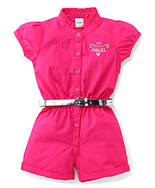 Babyhug Short Sleeves Jumpsuit With Belt Little Angel Embroidery - Dark Pink