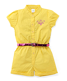 Babyhug Short Sleeves Jumpsuit With Belt Little Angel Embroidery - Yellow