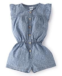 Babyhug Flutter Sleeves All Over Floral Design Jumpsuit - Light Blue