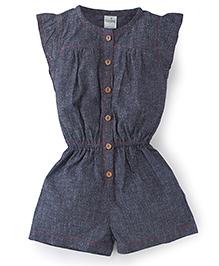 Babyhug Flutter Sleeves All Over Floral Design Jumpsuit - Dark Blue