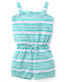 Babyhug Singlet Striped Jumpsuit - Green