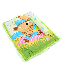 Montaly Baby Bedding Set With Pillow And Bolster Teddy Print - Green