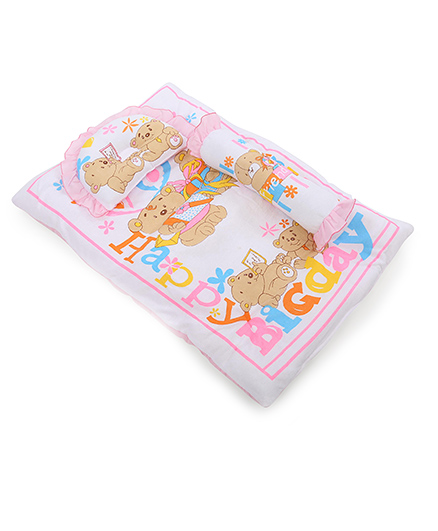 Montaly Baby Bedding Set With Pillow And Bolster Bear Print - Pink White