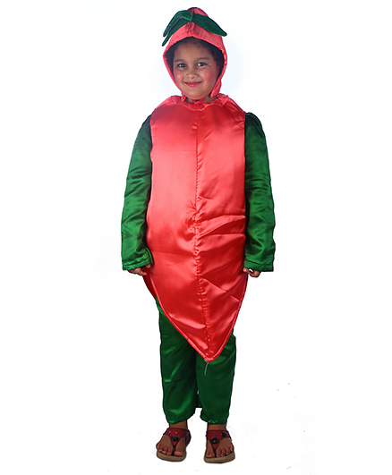 SBD Carrot Vegetable Fancy Dress Costume - Red And Green