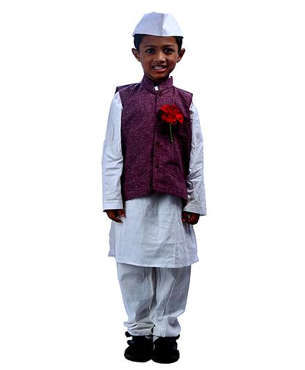 SBD National Heros Jawaharlal Nehru Fancy Dress Costume - White