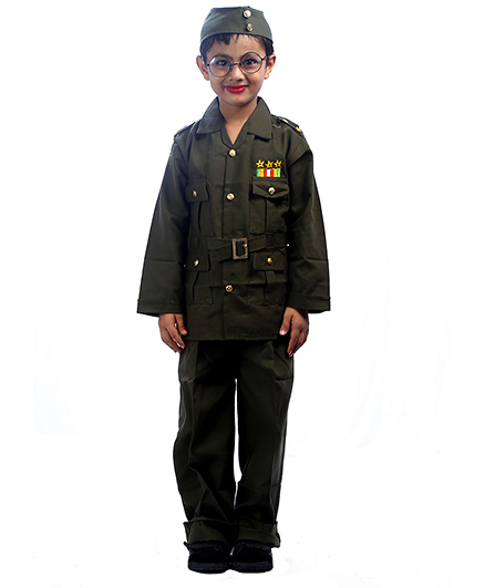 SBD National Heros Subhas Chandra Bose Fancy Dress Costume - Green