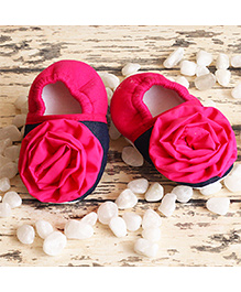 D'chica Little Doll Shoes With Floral Design - Blue & Pink