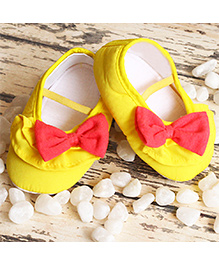 D'chica Little Doll Shoes With Bow - Yellow & Pink