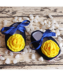 D'chica Little Doll Floral Shoes- Blue & Yellow