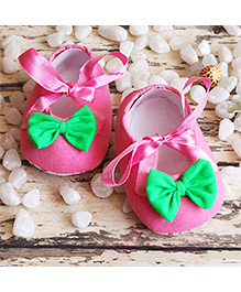 D'chica Little Doll Shoes With Bow - Pink & Green
