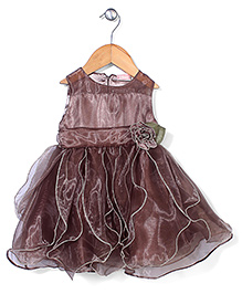 Little Coogie Frilled Party Wear Dress - Brown