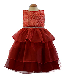 Simply Cute 3D Rose Gown With Floral Lace Yoke - Maroon