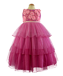 Simply Cute Boat Neck Gown With 3D Rose  - Salsa Pink