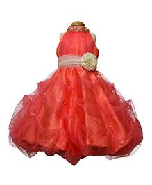 Simply Cute Pearl Neck Band Gown - Peach
