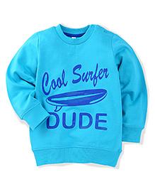 Babyhug Full Sleeves Sweatshirt Cool Surfer Print - Light Blue