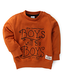 Babyhug Round Neck Full Sleeves Printed Sweat -T-Shirt - Orange
