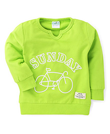 Babyhug Full Sleeves Sweat T-Shirt With Sunday Print - Lime Green