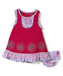 Wonderchild Floral Print Dress With Bloomer - Pink