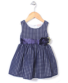Little Coogie Party Wear Dress With Flower - Navy