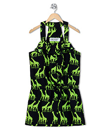 Soul Fairy Giraffe Print Jumper  - Neon Green & Black