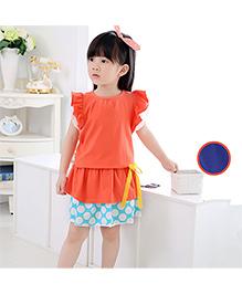 Dells World Dress With Polka Dot Design - Orange