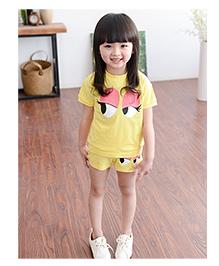 Dells World Eye Print Top And Shorts Set - Yellow