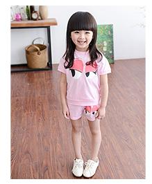 Dells World Eye Print Top And Shorts Set - Pink