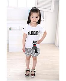 Dells World Cat Print Top And Checkered Shorts - Black & White