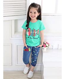 Dells World Fish Print Top And Pant Set - Multicolour