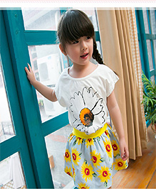 Dells World Top & Skirt Set With Floral Print - Multicolour