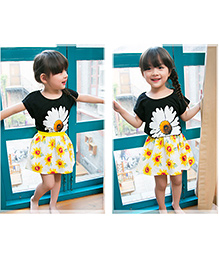 Dells World Top & Skirt Set With Floral Print - Black & Yellow