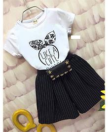 Dells World Bunny Print Top And Skirt Set - Black & White