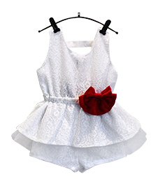 Dells World Backless Top With Shorts Set  - White