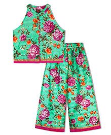 Twisha Floral Print Top With Palazzo - Green