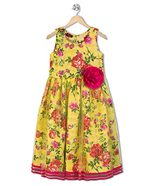 Twisha Exclusive Embroidered Yoke With Lace Flare And Flowers At Waist Gown -  Yellow