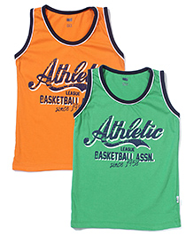 Simply Sleeveless Vests Athletic Print Set of 2 - Orange And Green