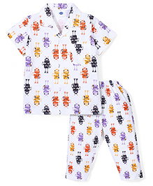 Teddy Half Sleeves Night Suit Robot Print - White Purple
