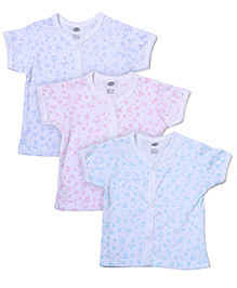 Zero Half Sleeves Printed Vests Blue Pink Aqua - Set Of 3