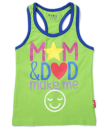 Fido Sleeveless Mom & Dad Printed Racer Back Top - Green