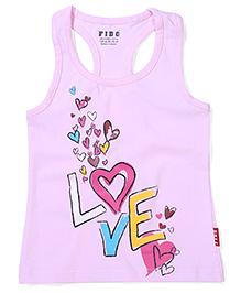Fido Sleeveless Love Printed Racer Back Top - Pink