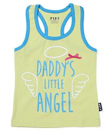 Fido Racer Back Daddy's Little Angel Print - Lemon And Blue