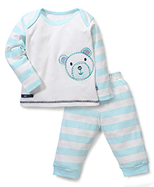 Mini Taurus Full Sleeves Top And Pajama Set Bear Embroidery - White & Aqua