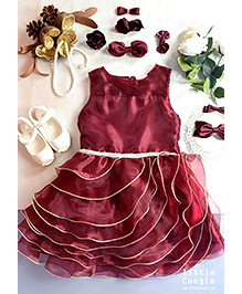 Little Coogie Layered Party Wear Dress - Maroon